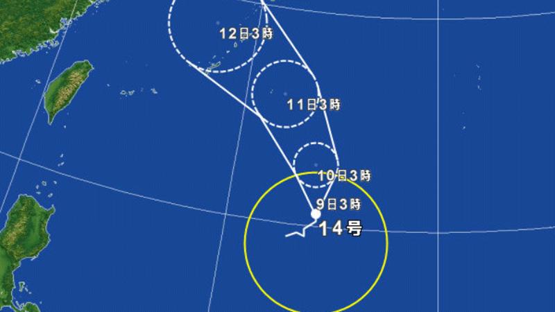 台風14号が沖縄接近